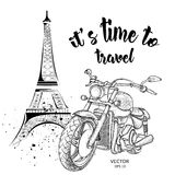 Hand drawn vintage motorcycle on background.  France, Paris, Eiffel Tower.  Vector illustration Stock Images