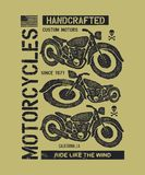 Hand drawn vintage motorcycle Royalty Free Stock Photography