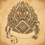 Hand drawn vintage ornate wings with ribbon banner for your text. Copy space for message. Stock Photography