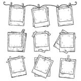 Hand drawn vintage photo frame doodle set Royalty Free Stock Image