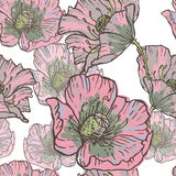 Hand drawn vintage pink poppy flowers seamless pattern Royalty Free Stock Images