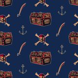 Hand drawn vintage pirate seamless pattern vector illustration. Retro treasure chest, skull wearing bandana with crossbones, sword. And anchor sketch background vector illustration