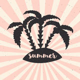 Hand drawn vintage poster with typography, sun rays and palms. Vector illustration - summer. Stock Photography