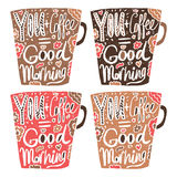 Hand drawn vintage quote for coffee themed: vector illustration