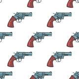 Hand Drawn Vintage Revolver Gun. Seamless Pattern Background Vector. Illustration Stock Images