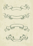 Hand drawn vintage ribbons design elements Stock Images