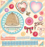 Hand Drawn Vintage Romantic Greetings Vector Set Stock Image