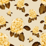 Hand-drawn vintage rose seamless pattern Stock Photo