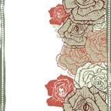 Hand drawn vintage  roses seamless border Royalty Free Stock Photos