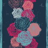 Hand drawn vintage  roses seamless border in dark blue Stock Images