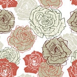 Hand drawn vintage roses seamless pattern Stock Images