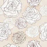Hand drawn vintage roses seamless pattern Stock Photos