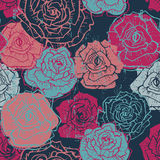 Hand drawn vintage  roses seamless pattern in dark blue Royalty Free Stock Photography