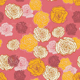 Hand drawn vintage  roses seamless pattern in pink Royalty Free Stock Photo