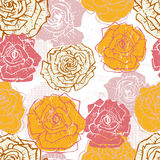Hand drawn vintage  roses seamless pattern in pink and orange Royalty Free Stock Photo