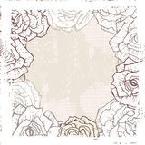 Hand drawn vintage roses vignette Royalty Free Stock Photography