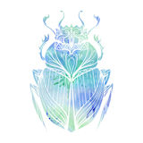 Hand drawn vintage scarab with blue watercolor background Royalty Free Stock Image