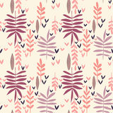 Hand-drawn vintage seamless leaf pattern. Decorative vector texture Royalty Free Stock Images