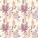 Hand-drawn vintage seamless leaf pattern. Decorative vector texture stock illustration