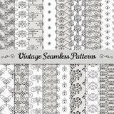 Hand Drawn Vintage Seamless Patterns. Set of 16 Black Hand Drawn Vintage Seamless Background Patterns. Vector Illustration with Pattern Swatches Royalty Free Stock Photos