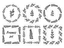 Hand drawn vintage set of 6 round and square frames. Wreath with branches for certificate, label and other. Stock Photos