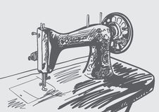 Hand drawn vintage sewing machine vector illustration