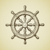 Hand-drawn vintage ships wheel in the old-fashioned style. Vector illustration Stock Photography