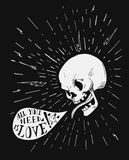Hand drawn vintage tattoo skull with love quote in Stock Image