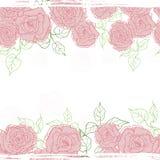 Hand drawn  vintage tender  roses seamless  border Royalty Free Stock Photos