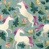 Hand drawn vintage Unicorn in magic forest seamless pattern. Vector illustration. Hand drawn vintage Unicorn in magic fantasy forest seamless pattern. Vector royalty free illustration