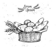 Hand drawn vintage vector illustration - Bakery shop. Royalty Free Stock Photography