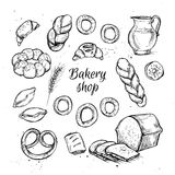 Hand drawn vintage vector illustration - Bakery shop. Stock Images