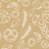 Hand drawn vintage vector seamless pattern - Bakery shop. Royalty Free Stock Photography