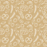 Hand drawn vintage vector seamless pattern - Bakery shop. Stock Image