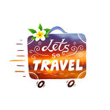Hand drawn vintage vector suitcase with wheels and lettering sign Lets go Travel in beautiful sunset colors Royalty Free Stock Photo