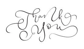 Hand drawn vintage Vector text Thank you on white background. Calligraphy lettering illustration EPS10 Stock Photo