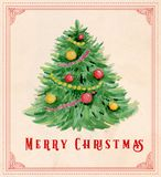 Vintage watercolor Christmas greeting card. Hand drawn vintage watercolor Christmas greeting card. Green fir tree and decorations Stock Image