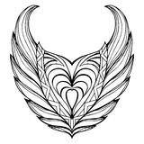 Hand drawn vintage wings. Stock Photos