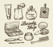 Hand drawn vintage womens cosmetics.  Stock Images