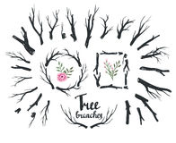Hand drawn vintage wood tree branches and wreaths. Stock Photography
