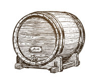 Hand drawn vintage wooden wine cask. Drink, oak barrel sketch. Vector illustration Stock Image