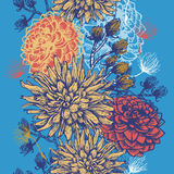 Hand drawn vintaget floral vertical  seamless border Stock Images