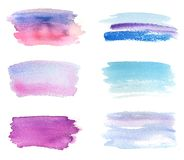 Hand drawn violet and blue watercolor banners set. Grunge brush paint abstract texture. Rough paper hand painted . Can be uset for headline, logo and sale Royalty Free Stock Images