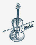 Hand drawn violin vector illustration. Sketch musical instrument Royalty Free Stock Photos