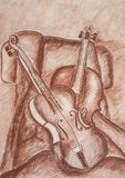 Hand drawn violins. Still life of two violins. Hand drawn Stock Photography