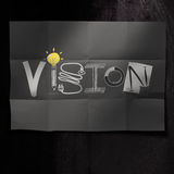 Hand drawn VISION design word on crumpled paper background as c Stock Image