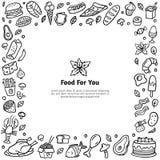 Hand-drawn voedsel gestileerd kader Zwart-witte krabbelillustratie met vele verschillende schotels stock illustratie