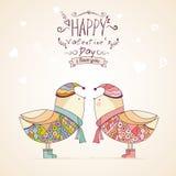 Hand-drawn vogels in blauwe en roze schaduwen Royalty-vrije Stock Afbeeldingen
