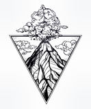 Hand drawn volcano in triangle frame artwork. Stock Photos