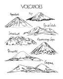 Hand drawn volcanoes Stock Image